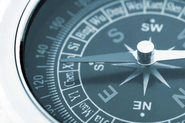 compass closeup blue toned